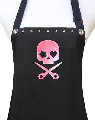 "Hair Stylist Apron ""PINK SKULL"" waterproof salon hairdresser black new"