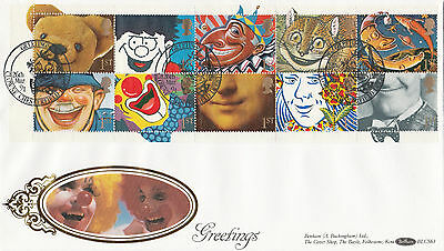 Benham Blcs63 Official First Day Cover-Greeting Booklet Stamps-Clowne Shs-1991