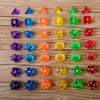 7-Dice Sided D4 D6 D8 D10 D12 D20 MTG Magic Gathering D&D DND RPG Poly Game Chic