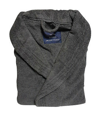 NEW 100% Egyptian Cotton 500GSM Thick Terry Towelling Unisex Bath Robe Charcoal
