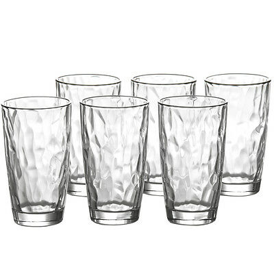 Embossed Tumblers Pack of 6 Drinking Glass Cup Water Clear Glassware Juice Set
