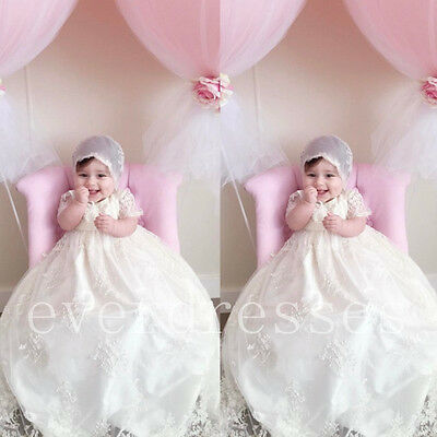 Infant Baby Baptism Christening Gown Dresses Beaded Lace Girl Robe With Bonnet