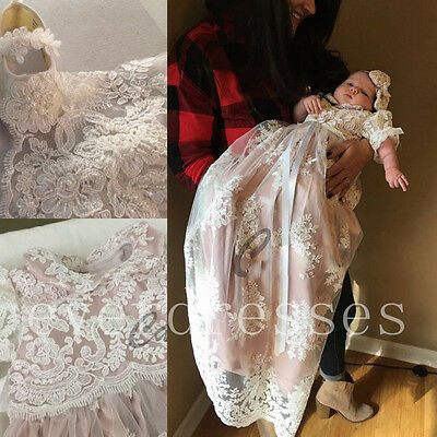Infant Baby Baptism Christening Gown Dresses Beaded Lace Girl Robe With Handband