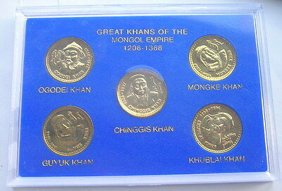 Mongolia Great Khans Empire Official Mint Box Set of 5 Medal Coin,Rare!