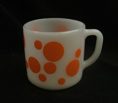 Vintage Federal Milk Glass and Orange Polka Dot Coffee Mug
