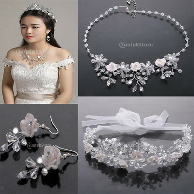 Wedding Rhinestone Ceramic Necklace Earrings Tiara Crown Bridal Jewelry Set