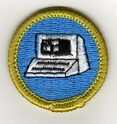 Computers Merit Badge Type H, Plastic Back (1972-2002), Mint!