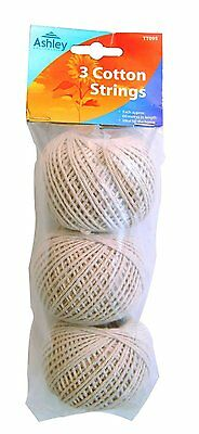 3 x 100% Natural COTTON Shabby Rustic Style String White Twine Craft Making 60m