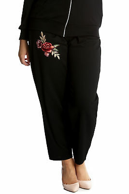 New Ladies Plus Size Trousers Womens Floral Embroidery Patch Bottoms Polka Dot