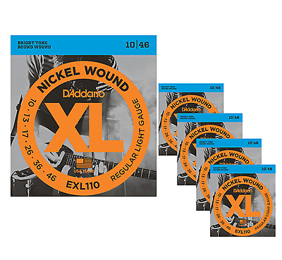 5-Pack Daddario XL Regular Light Electric Guitar Strings 10-46 gauge EXL110