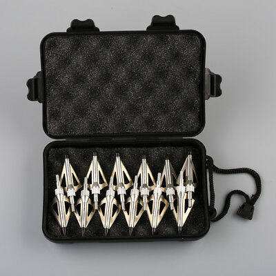 12pcs Silver Hunting Arrow Broadheads 100Grain 3 Blades Crossbow and Compound