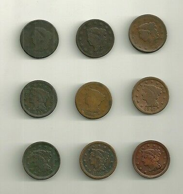 Lot Of (9) Different Dates  U.s. Large Cents 1817/1854