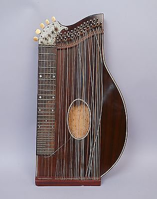 Superb Antique 19c German Fretted Concert Zither for Restoration in Orig Case
