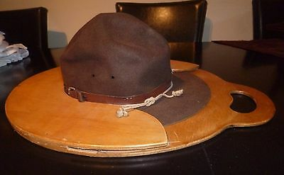 UNIQUE VINTAGE GREEK BOY SCOUT ORIGINAL HAT & WOODEN CASE RARE 50s-60s