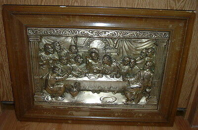 "Vintage / Antique The Last Supper Metal 3D Relief Picture 24"" X 18"""