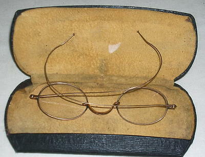 19th century 10K Yellow Gold Eyeglasses, Maker MMB  with case