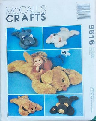~UNCUT McCall's CRAFT Sewing Pattern 9616 Cat, Dog, Bear & Bunny Pillow Shams~