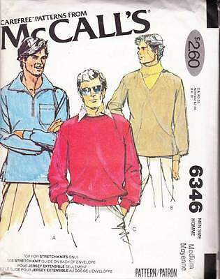 ~UNCUT McCall's Sewing Pattern 6346 Men's 70's Stretch Knit Top  S 38-40~