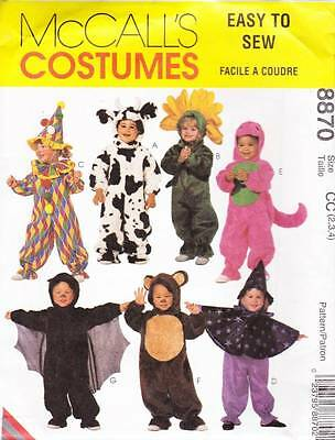 McCall's Costume Sewing Pattern 8870 Cow Flower Clown Witch Dinosaur Bear 2-4