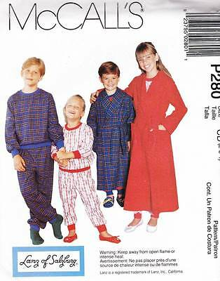 ~UNCUT McCall's Pattern 280 Children's Robe, Pajama Top & Pants S 2-4~