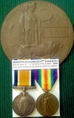 Ww1 British War & Victory Medal Pair With Memorial Plaque,1/5Th West Riding Regt