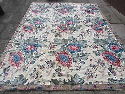 Shabby chic Hand Made Indian Kashmir Wool Cream Hooked Stitchwork Rug 306x234cm