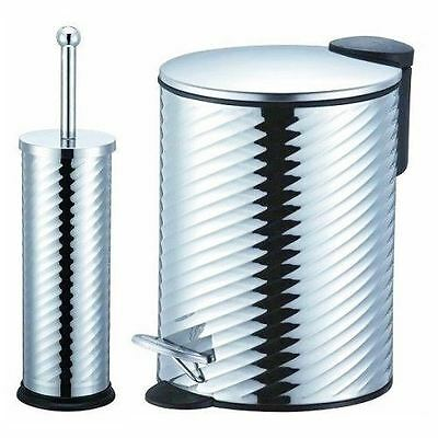 3L, 5L Twisted Chrome Soft Close Lid Bathroom Pedal Bin Or Toilet Brush Holder