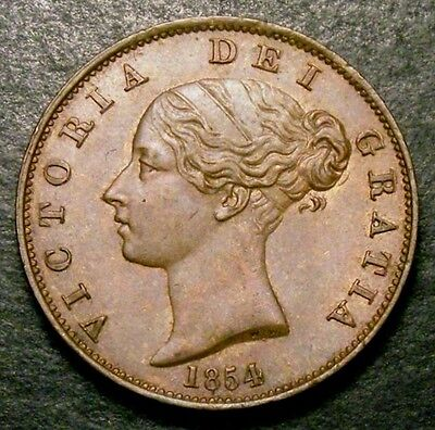 1854 AUNC Great Britain Queen Victoria Copper Half Penny Coin CGS 70, MS60-61