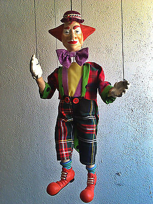 Vintage Professional Large Handmade Collectible Puppet Clown - Marionette string
