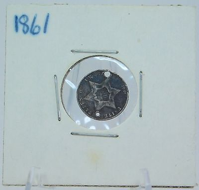 Antique 1861 Three 3-Cent Piece Silver Holed Coin EH61
