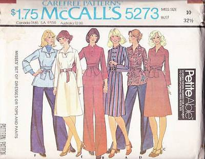 ~UNCUT McCall's Sewing Pattern 5273 CAREFREE Dresses, Tops & Pants S 10~