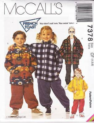 ~UNCUT McCall's Sewing Pattern 7378 Kids Jacket, Top & Pull On Pants S 4-6~