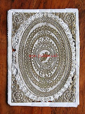 Delicate Victorian Gilded Paper Lace Pierced  Birthday Card Meek Opens Poem