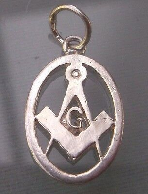 Masonic Silver Pendant/Fob Small in Size H20mm W10mm Weight 2.1g Stamped