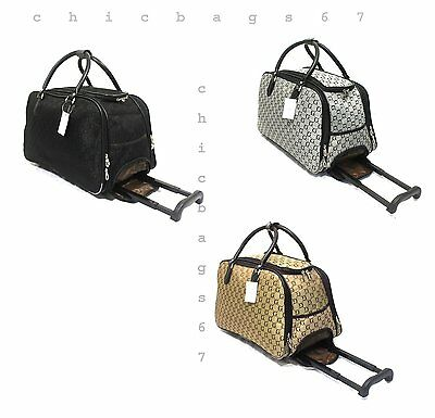 New GG Small Print Wheeled Travel Bag Holdall Luggage Cabin Trolley Weekend Case