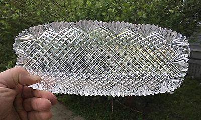 "Antique Cut Glass 11 1/2"" Celery Dish Heavy Thick American Brilliant Period ABP"
