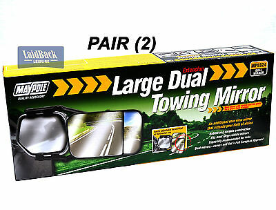 PAIR (2) Maypole QUALITY LARGE *4x4* DUAL Glass towing mirrors*Caravans/Trailers