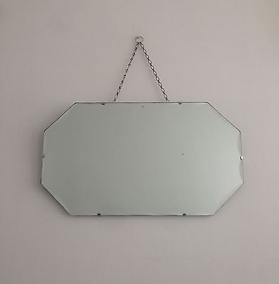Large Vintage Art Deco Frameless Scalloped Edge Hanging Wall Mirror With Chain