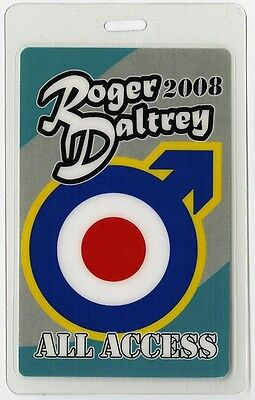 Roger Daltrey authentic 2008 concert tour Laminated Backstage Pass AA The Who