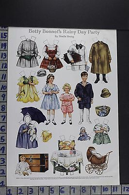 1918 Toy Betty Bonnet Paper Doll S. Young Baby Carriage Vintage Print Ee076