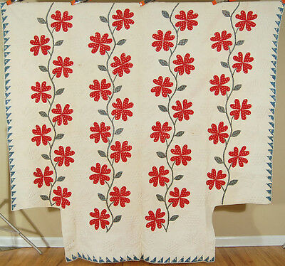 MUSEUM QUALITY Vintage 1830s Heart Vine Applique Antique Quilt ~AMAZING TRAPUNTO