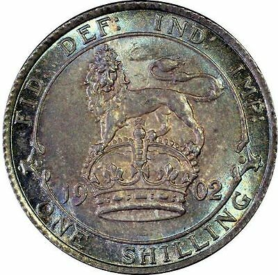 1902 UNC Edward VII Silver Shilling  PCGS MS 63