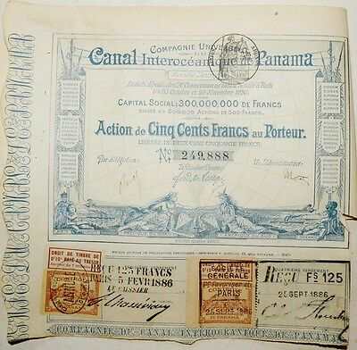 Panama 1880 Canal Interoceanique 500 Francs Coupons UNC Bond Loan Share Stock