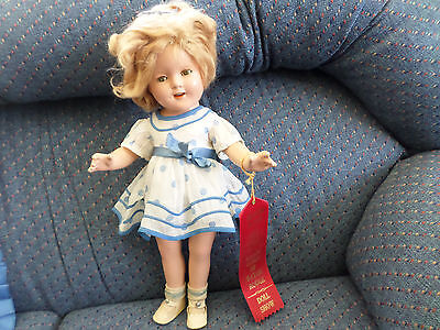 """SHIRLEY TEMPLE 1930'S  17"""" IDEAL COMPOSITION DOLL w/ STAND UP & CHEER DRESS"""