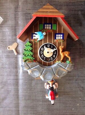 Musical Cuckoo Clock Swinging Lady Spring Pendulum Untested For Restoration