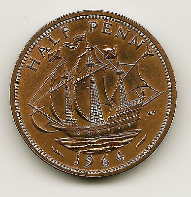 World Coins - UK Great Britain Half Penny 1964 Coin KM#  896