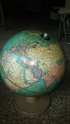 "Vintage Rare Cram's Universal Terrestrial World Globe 9"" with Brown Metal Base"
