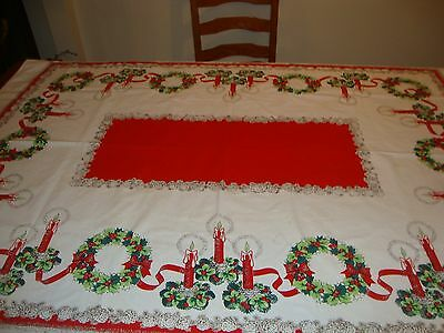 Vtg Cotton Christmas Tablecloth Candles wreaths Ribbon Gold 49x65