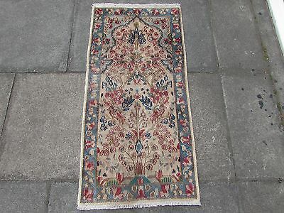 Old Shabby Traditional Hand Made Persian Oriental Wool Cream Small Rug 120x58cm