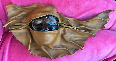 Vintage Sculpted Molded Leather Face Mask Wall Hanging Exotic hand tooled signed